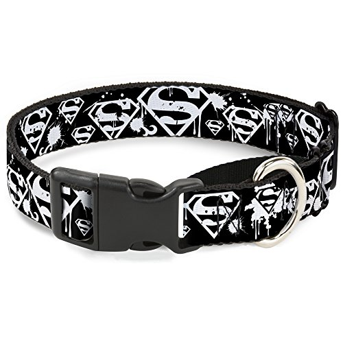 Dog Collar Martingale Superman Color Flying Bricks Scene 18 to 32 Inches 1.5 Inch Wide