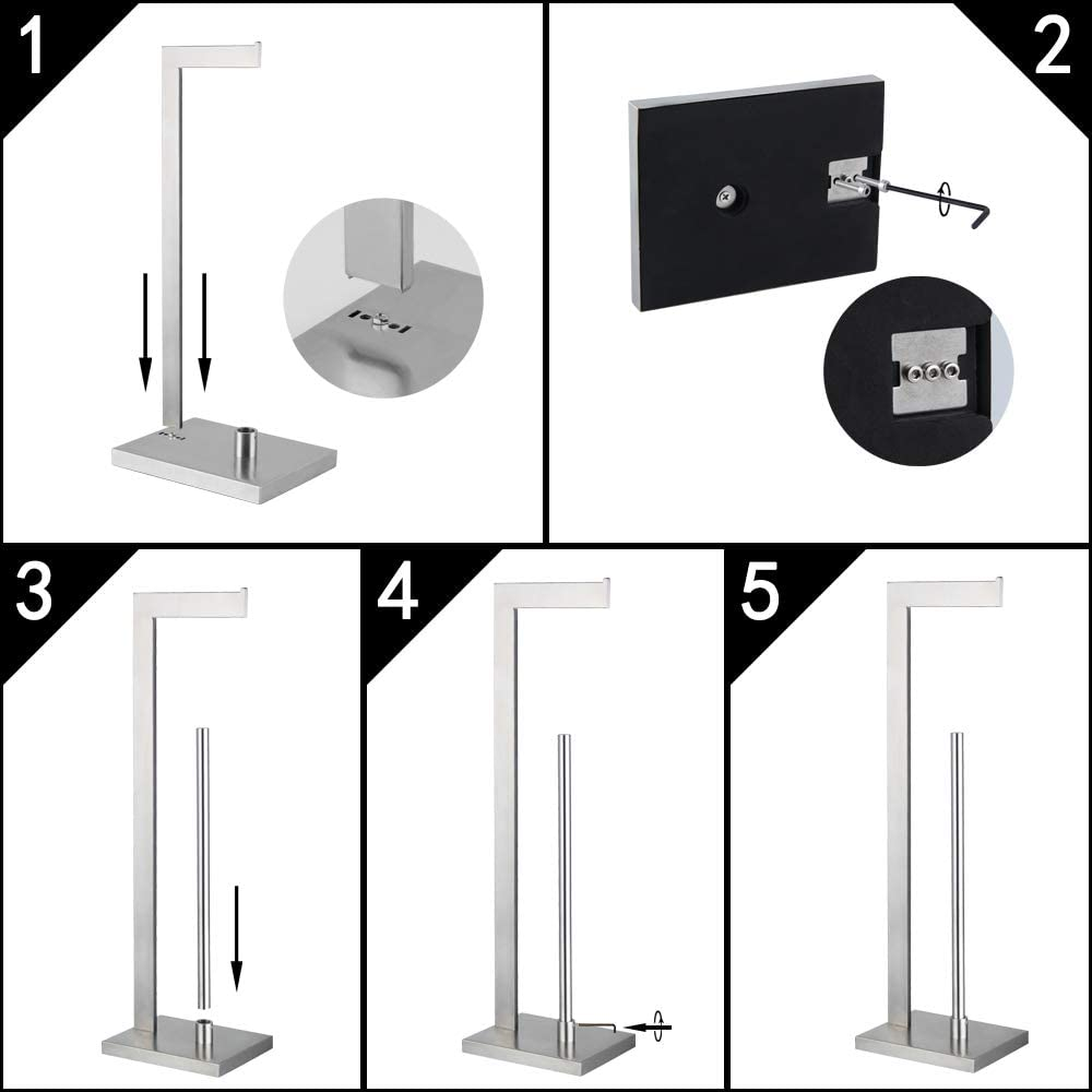 Toilet Paper Holder Free Standing with Reserve SUS 304 Stainless Steel Lavatory Tissue Roll Holder Floor Stand Storage Brushed Finish