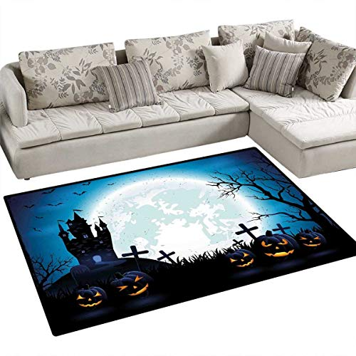 Halloween Girls Bedroom Rug Spooky Concept with Scary Icons Old Celtic Harvest Figures in Dark Image Holiday Print Door Mat Indoors Bathroom Mats Non Slip 36