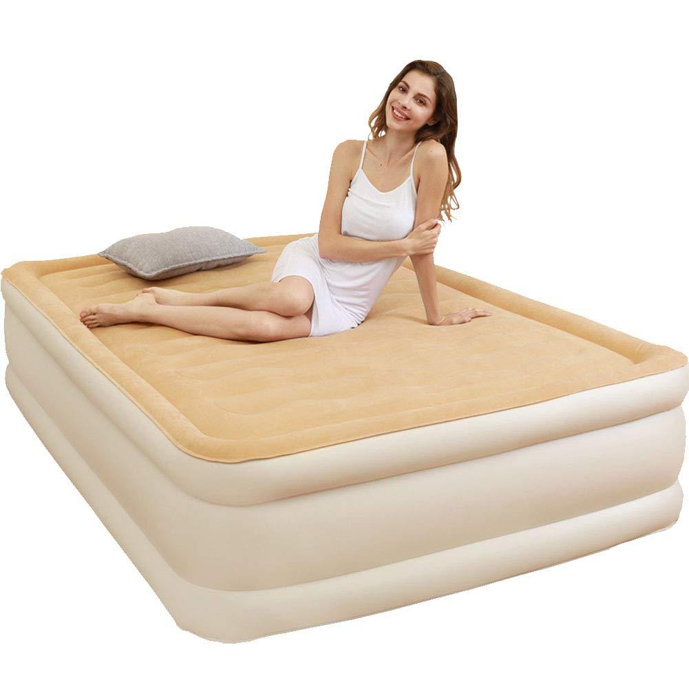 QAQ Aufblasbares Bett Für Den Haushalt Eingebaute Aufblasbare Elektrische Pumpe Weich Anti-Stress Faltbar Doppelt Tragbar,Brass,203  152  45cm