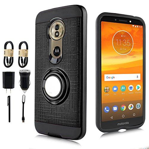 Moto G6 Case, Moto G (6th Generation) Phone Case, Magnet Mount Ready Grip Pattern Kickstand Slim Shock Bumper Cover Motorola Moto G6 5.7 Inch [Value Bundle] (Black)