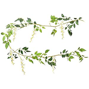 Miracliy Artificial Flowers Vine 2 Pcs 6.6ft Fake Silk Wisteria Ivy Vine Rattan Hanging Garland for Home Party Wedding Decor 94