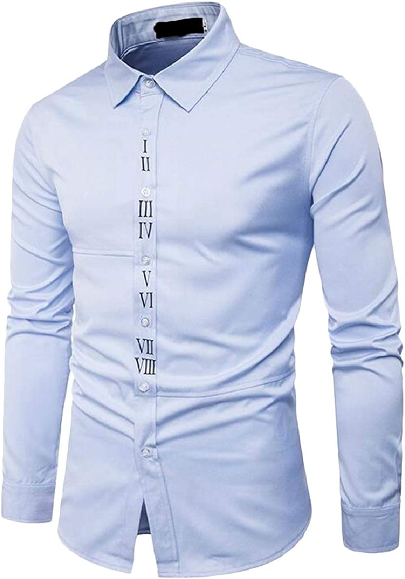 Xswsy XG Mens Slim Fit Business Casual Long Sleeve Number Printed Dress Shirt