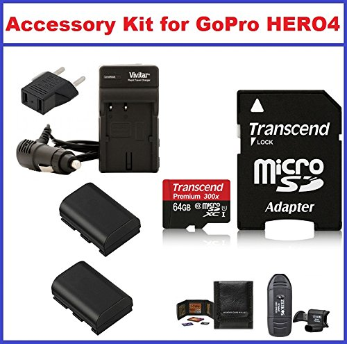 Accessory Kit for GoPro HERO4 Camcorder, Includes: Transcend 64GB microSDXC Memory Card Premium 300x Class 10 UHS-I with microSD Adapter, AC/DC Travel Charger with Batteries, Card Reader and Memory Card Wallet by True Modern Electronics