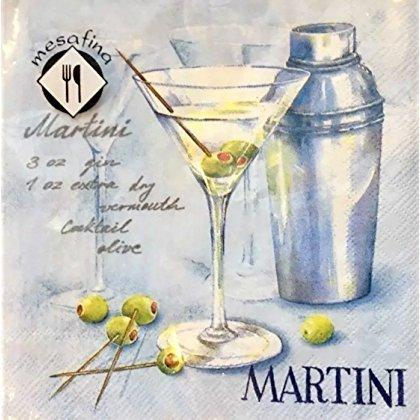 MesaFina Set of 20 Cocktail Beverage Paper Napkins, Martini