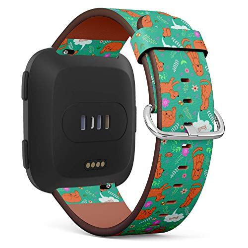 - Compatible with Fitbit Versa - Leather Watch Wrist Band Strap Bracelet with Quick-Release Pins (Fanny Merry Spaniel)