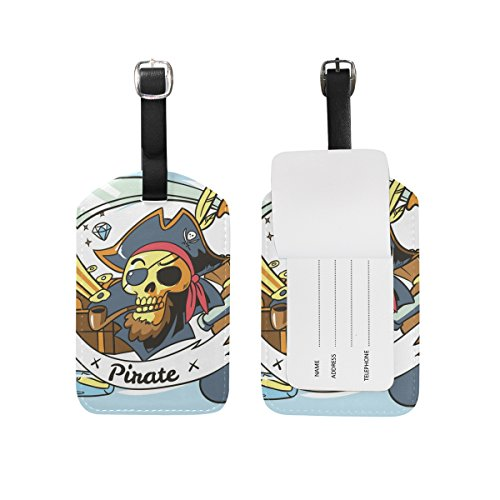 Hulahula Pirate Leather Travel Luggage Baggage Card Tag Suitcase ID Label(2Pcs)