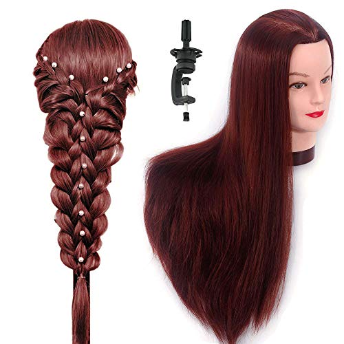 HAIREALM 26 Mannequin Head Hair Styling Training Head Manikin Cosmetology Doll Head Synthetic Fiber Hair (Table Clamp Stand Included) SC3318P