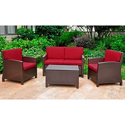 Superbe International Caravan Valencia 4 Piece Outdoor Patio Settee Set In  Chocolate And Merlot