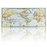 JIALONG World Map Extended Gaming Mouse Pad Large Size 900x400mm Office Desk Pad Mat with Stitched Edges for PC Laptop Computer