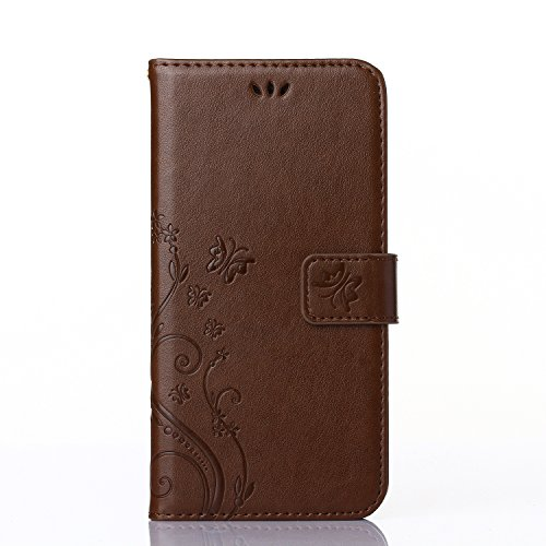 iPhone 6Plus Case, TIPFLY Solid Color Embossed Wallet PU Leather & Hand Strap Credit Card Holders Magnetic Closure Stand Flip Soft TPU Inner Cover for Apple iPhone 6Plus/6sPlus- Light Brown Butterfly