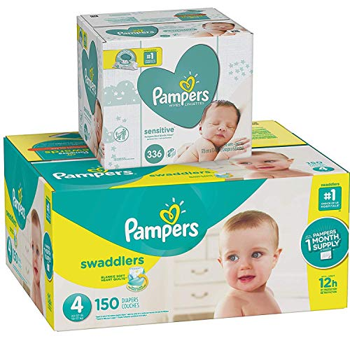 Pampers Swaddlers Disposable Baby Diapers Size 4, 150 Count and Baby Wipes Sensitive  Pop-Top Packs, 336 Count