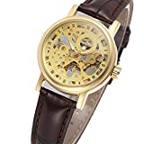 Wristwatches Handwind Skeleton Womens Lady Watch Gold