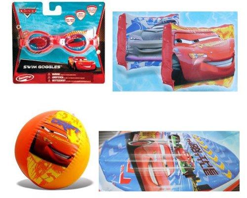 Cars Summer Fun Pool Set - Goggles, Beach Ball, Swim Raft, Arm Floats