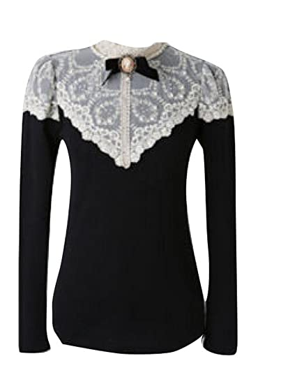 Retro Victorian Goth Black Lace Beads High Collar Knit Top Cotton