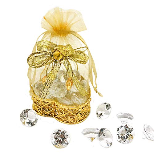 JC HUMMINGBIRD 12PC Heart shape Gold Pouch, for Party Favors, Table decoration, Wedding, Birthday, Baby shower -