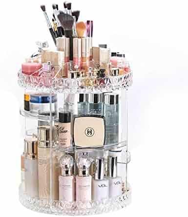 DreamGenius Makeup Organizer 360-Degree Rotating Adjustable Multi-Function Acrylic Cosmetic Storage, Transparent