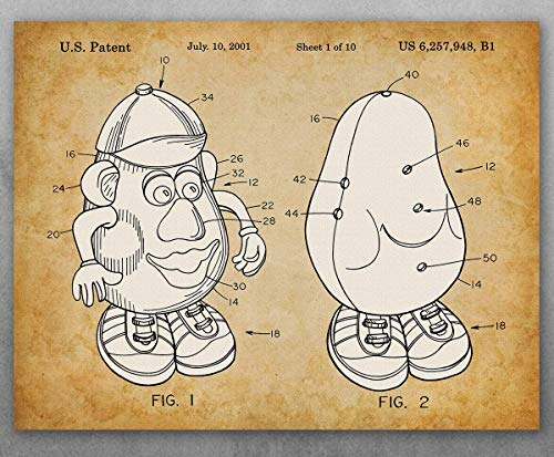 Poster - Mr. Potato Head - Talking Toy Potato Patent - Choose Unframed Poster or Canvas - Makes a Great Gift for Boy's or Girl's Room Decor]()