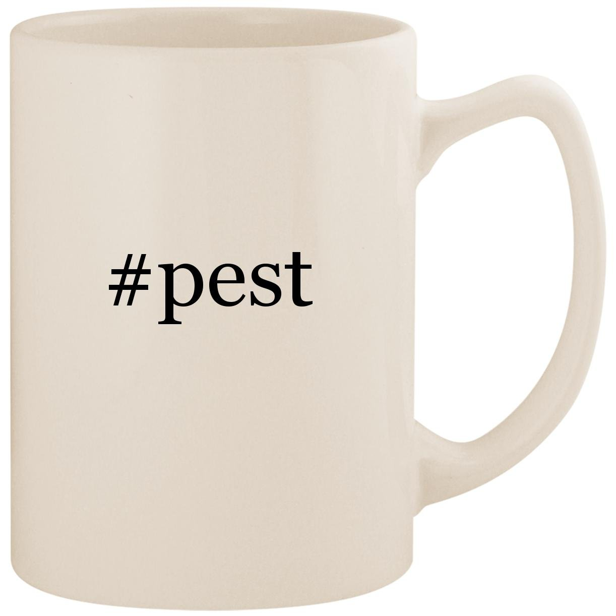 #pest - White Hashtag 14oz Ceramic Statesman Coffee Mug Cup by Molandra Products