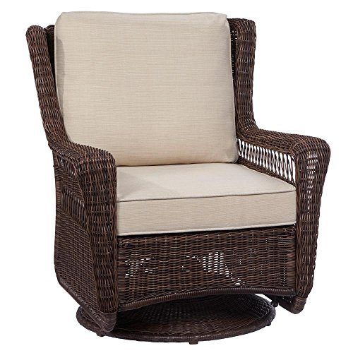 Hampton Bay Park Meadows Brown Swivel Rocking Wicker Outdoor Lounge Chair with Beige Cushion ()