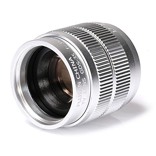 Silver Fujian 35mm f/1.7 CCTV lens for Sony NEX E-mount camera & Adapter bundle for Sony A7 NEX7 a6000 a5000 a3500