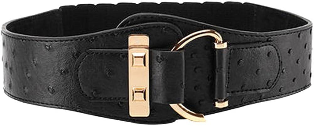 Ya Jin Women Stretchy Leather Dress Belt Elastic Wide Waist Cinch Belt Metal Buckle