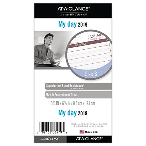 AT-A-GLANCE 2019 Daily Planner Refill, Day Runner, 3-3/4
