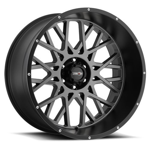 Vision Wheel Rocker Style: 412 RWD Finish: Anthracite w/Satin Black lip and chrome bolts. Wheel Size Inches: 18X9PCD: 5-127Load Rating Lbs. 2400 Offset: -12