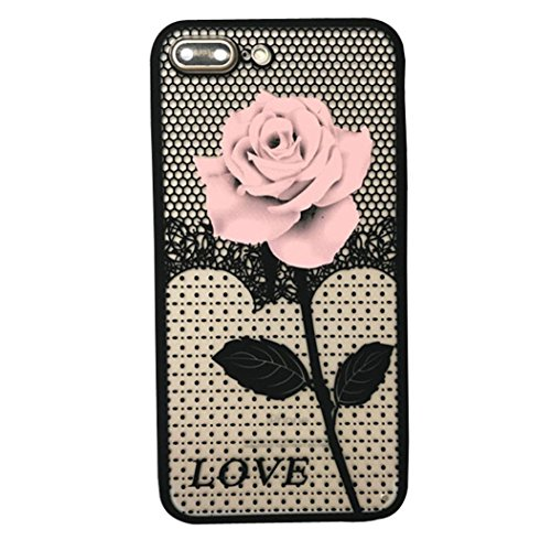 : For iphone 7 Plus 5.5inch Case Sinfu Thin Mesh Rose Heat Dissipation Protective Cover (B)
