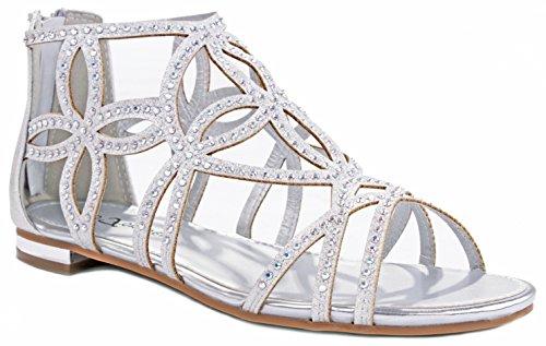 1da68823cde344 JJF Shoes Women Sparkling Crystal Rhinestone Strappy Cut Out Gladiator Flat  Dress Sandals - Buy Online in UAE.