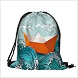Travel Drawstring Closure Bag with Waves and a Paper Sail Ship with Travel Gift Bag Pouches 14''W x 17.5''H