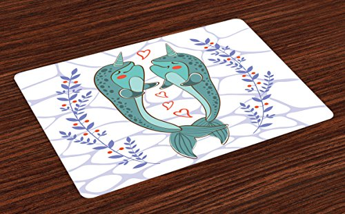 Narwhal Place Mats Set of 4 by Ambesonne, Valenties Day Themed Illustration with Colorful Whales in Love Aquatic Adoration, Washable Placemats for Dining Room Kitchen Table Decoration, - Valenties Day Ideas
