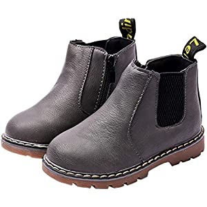 PPXID Boy's Girl's British Waterproof Plush Inside Snow Boots(Baby/Toddler/Little Kid/Big Kid)-Gray 2.5 US Size