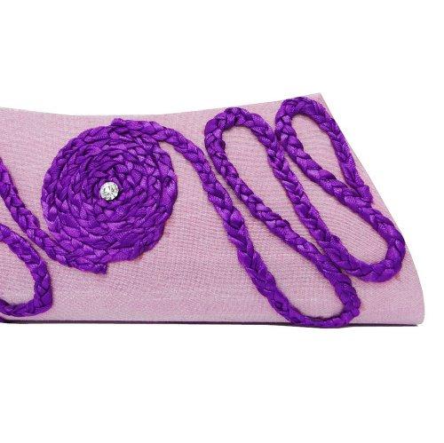 Recorte Monedero De La Cartera Del Monedero Del Bolso De Totalizadores Púrpura Hecha A Mano Del Embrague De Las Mujeres Medianamente Bolsa purpúreo claro