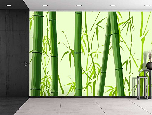 Large Wall Mural Beautiful Green Bamboos Tree Trunks Vinyl Wallpaper Removable Decorating