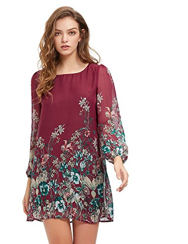 Floerns Women's Floral Print Chiffon Sleeve Round Neck Casual A-line Shift Dresses Burgundy M - Fall Print Dress