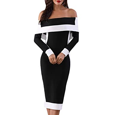 ff5392e9b164 Vintage Ruffle Dress for Women Off Shoulder Elegant Splice Long Sleeve  Bodycon Pencil Dresses (XXXXXL