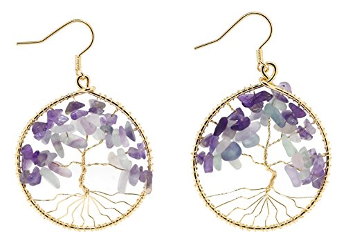 Handmade Beaded Wire Wrapped Celtic Tree of Life Earrings (Simulated Moonstone and Amethyst) Handmade Wire Wrapped Earrings