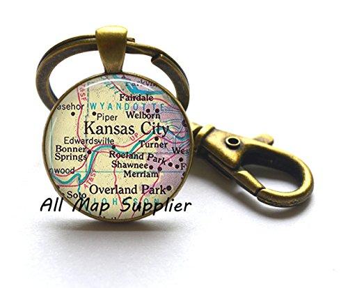 Charming Keychain Kansas City Keychain, Kansas City Key Ring, Overland Park Key Ring, map jewelry, map Keychain, map jewellery,A0006