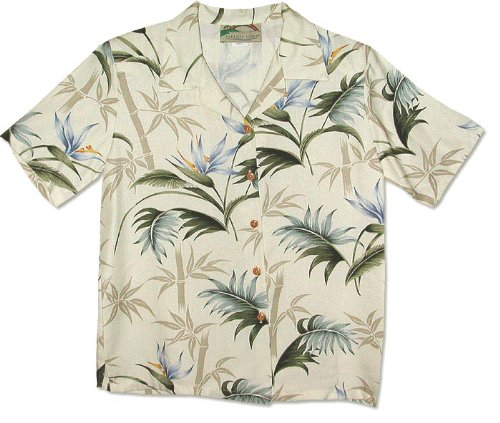 Bamboo Paradise Women's Hawaiian Aloha Herringbone Rayon Shirt in Cream - XXL