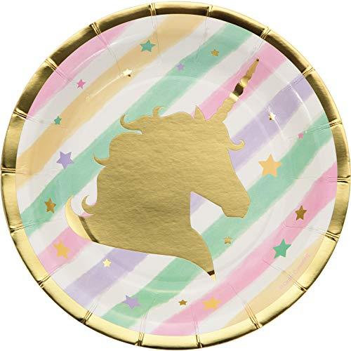 Creative Converting 329410 Unicorn Sparkle Paper Dessert Plates Party Supplies, 7