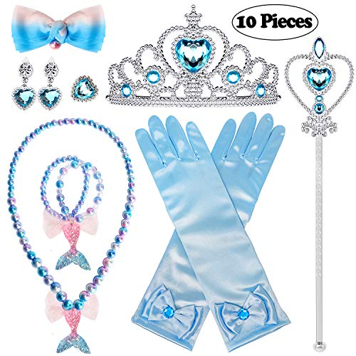 Golray 10 Pieces Princess Dress Up Accessories Princess Elsa Cinderella Little Mermaid Ariel Set for Girls with Crown Scepter Glove Necklace Bracelet Earrings Ring Hair Clip -