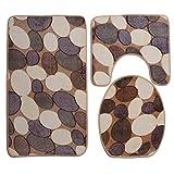 Vi.yo 3 Pieces Bathroom Mat Set Flannel Non-slip Cobblestone PatternToilet Three Sets Carpet Pedestal Lid Mat Toilet Cover