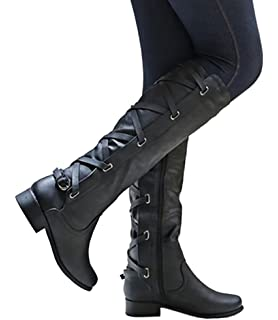 Amazon Com Westcoast Women S Knee High Riding Boot Faux Leather