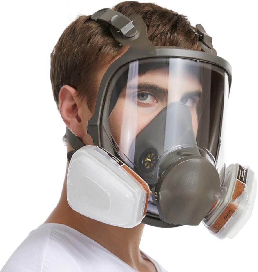 Máscara antigas, Máscara De Gas Cara Completa Silicona Filtro De Carbón Activado Doble Filtro Protección De Ojos Puede Usarse para Gases Orgánicos Y Vapor Benzofenona Disulfuro De Carbono Etc