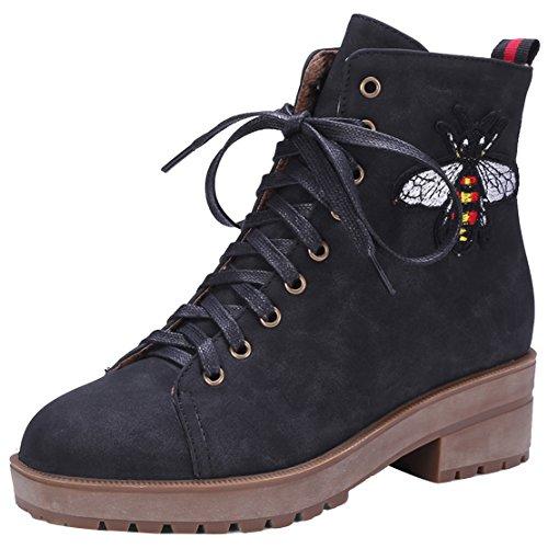 AIYOUMEI Damen Herbst Winter Stiefeletten mit Schnürung und Blumen Bequem Blockabsatz Schnürstiefel Schwarz