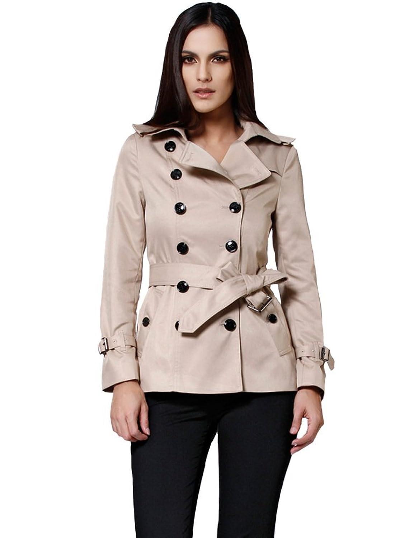Amazon.com: Camii Mia Women's Short Double Breasted Trench Coat ...