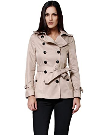 Amazon.com: Camii Mia Women's Short Double Breasted Trench Coat ...