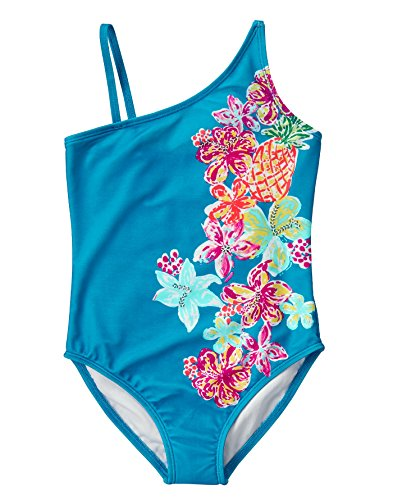 Gymboree Big Girls Aqua Onepiece with Tropical Print