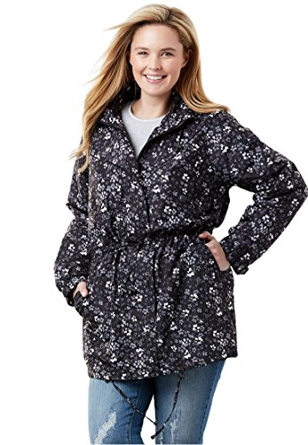 Woman Within Plus Size Fleece-Lined Taslon Anorak - Black White Floral, ()